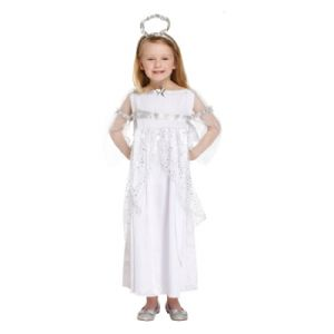 Age 10-12 Large GIRLS Childs Angel Christmas Nativity Fancy Dress Costume